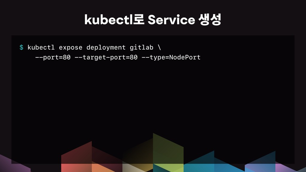 $ kubectl expose deployment gitlab \ --port=80 ...