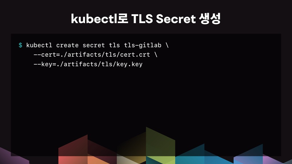 $ kubectl create secret tls tls-gitlab \ --cert...
