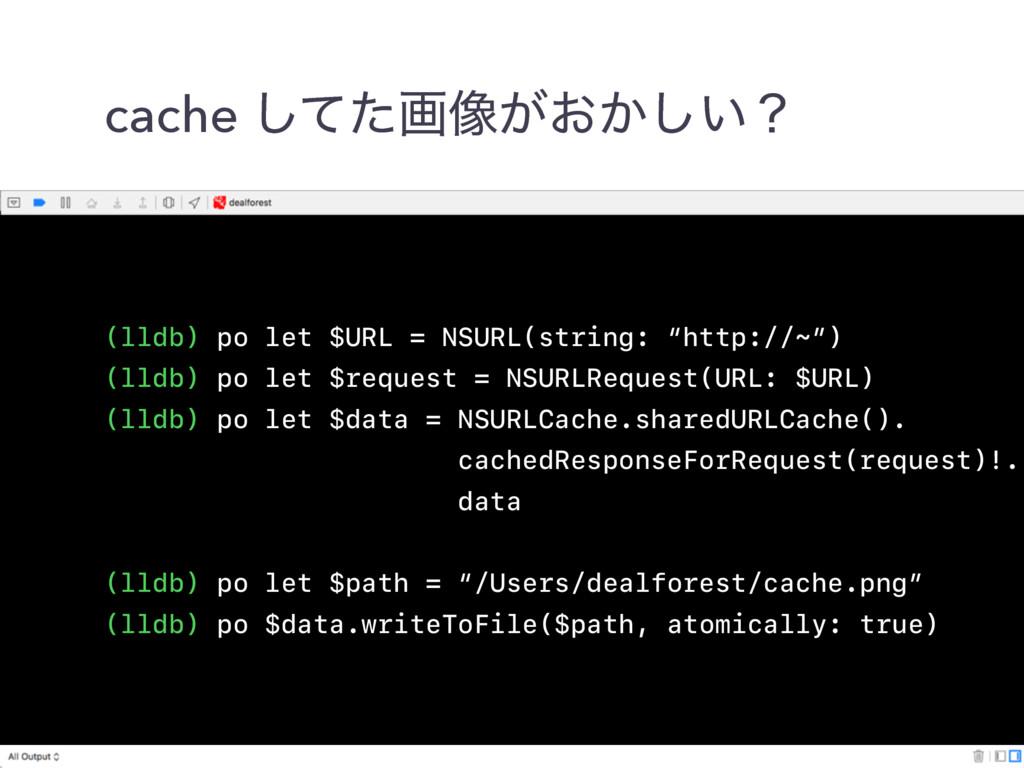 cache ͯͨ͠ը૾͕͓͔͍͠ʁ (lldb) po let $URL = NSURL(st...