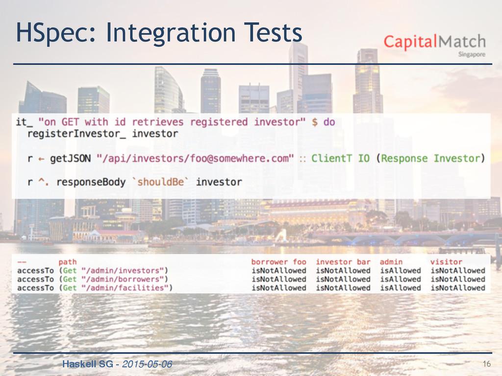 Haskell SG - 2015-05-06 HSpec: Integration Test...