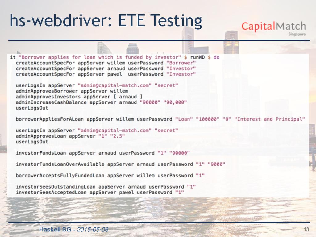 Haskell SG - 2015-05-06 hs-webdriver: ETE Testi...