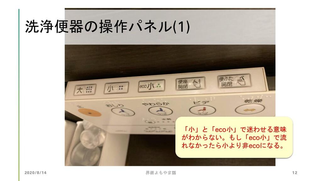 洗浄便器の操作パネル(1) 2020/8/14 界面よもやま話 12 「小」と「eco小」で迷...