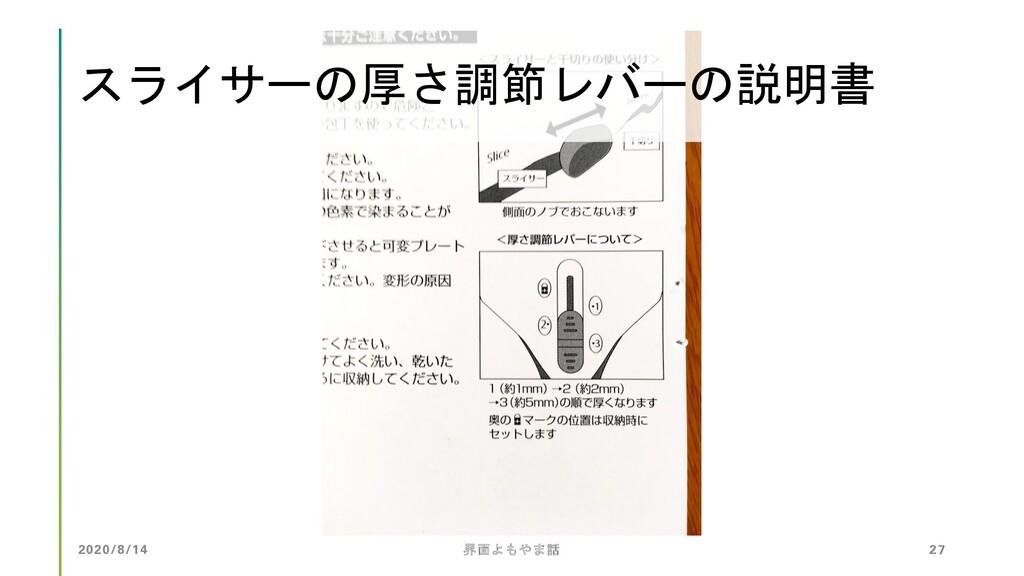 2020/8/14 界面よもやま話 27 スライサーの厚さ調節レバーの説明書