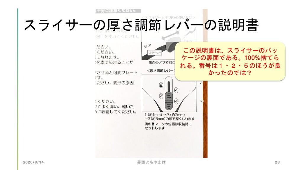 2020/8/14 界面よもやま話 28 スライサーの厚さ調節レバーの説明書 この説明書は、ス...