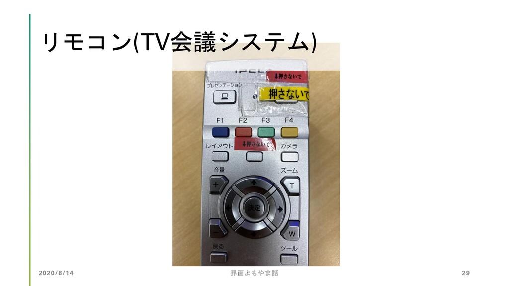 2020/8/14 界面よもやま話 29 リモコン(TV会議システム)