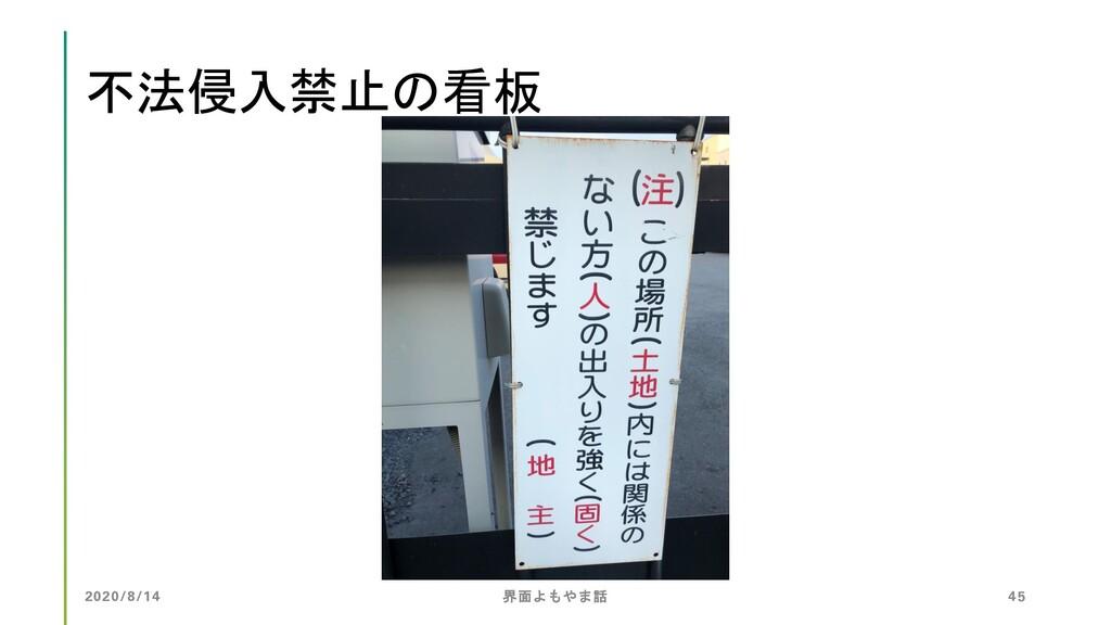 不法侵入禁止の看板 2020/8/14 界面よもやま話 45