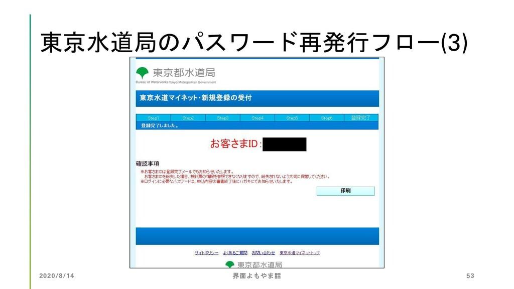 東京水道局のパスワード再発行フロー(3) 2020/8/14 界面よもやま話 53