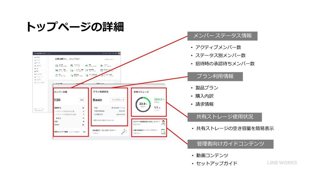 トップページの詳細 プラン利用情報 共有ストレージ使用状況 管理者向けガイドコンテンツ メンバ...