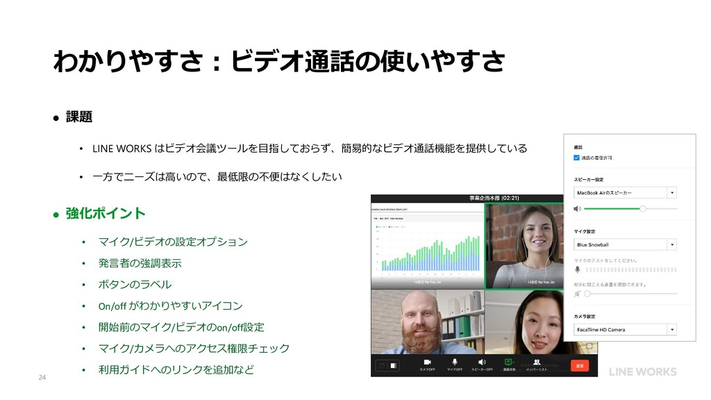 わかりやすさ:ビデオ通話の使いやすさ  課題 • LINE WORKS はビデオ会議ツールを...
