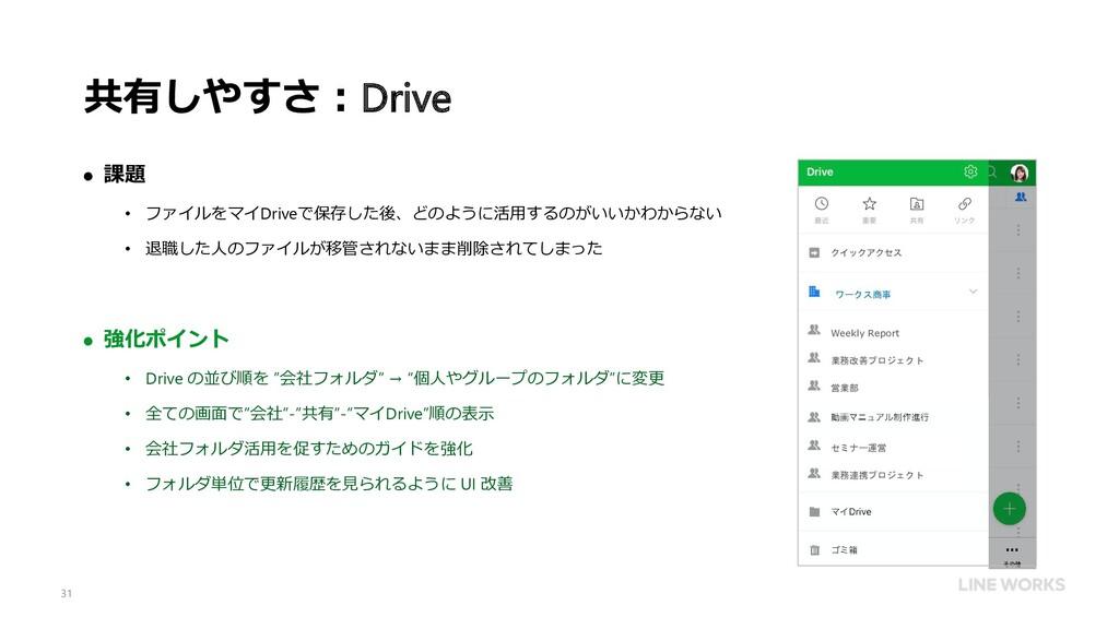 共有しやすさ:Drive  課題 • ファイルをマイDriveで保存した後、どのように活用す...