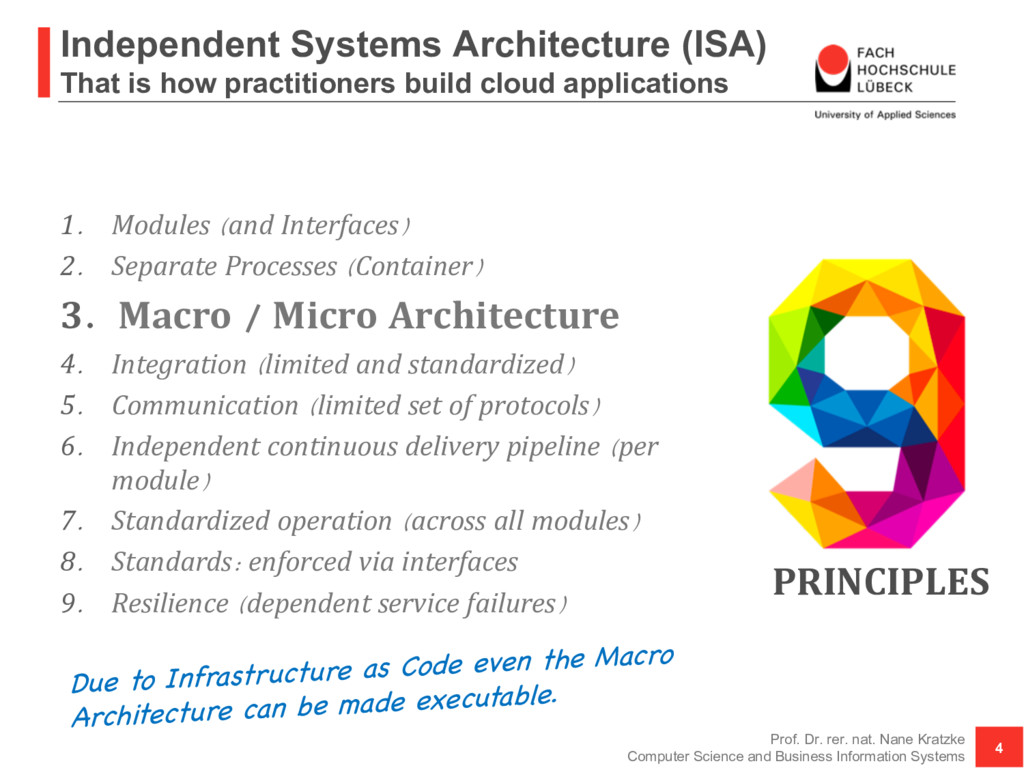 Independent Systems Architecture (ISA) That is ...