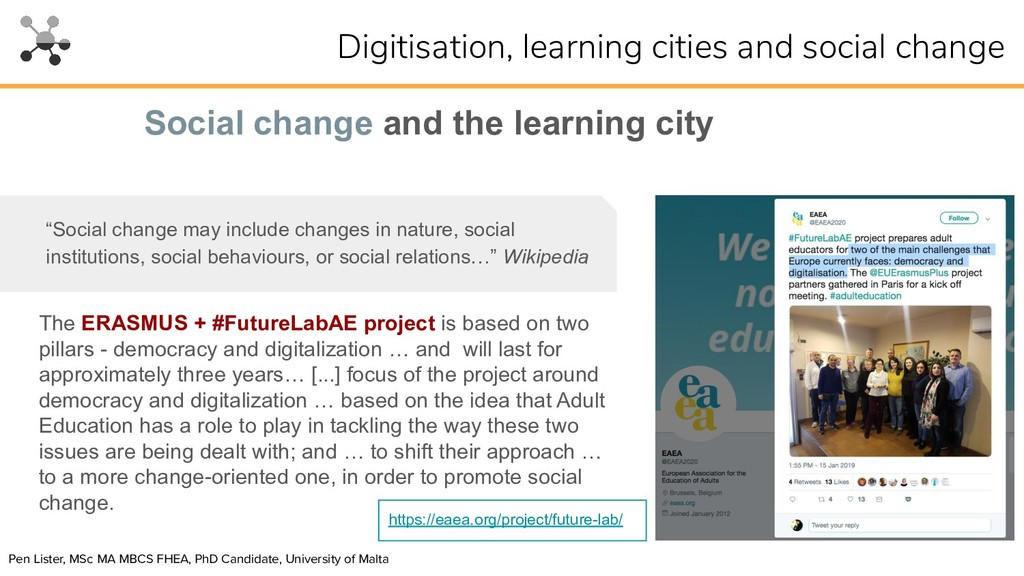 """Social change and the learning city """"Social cha..."""