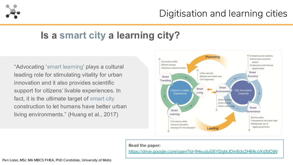 """Is a smart city a learning city? """"Advocating 's..."""