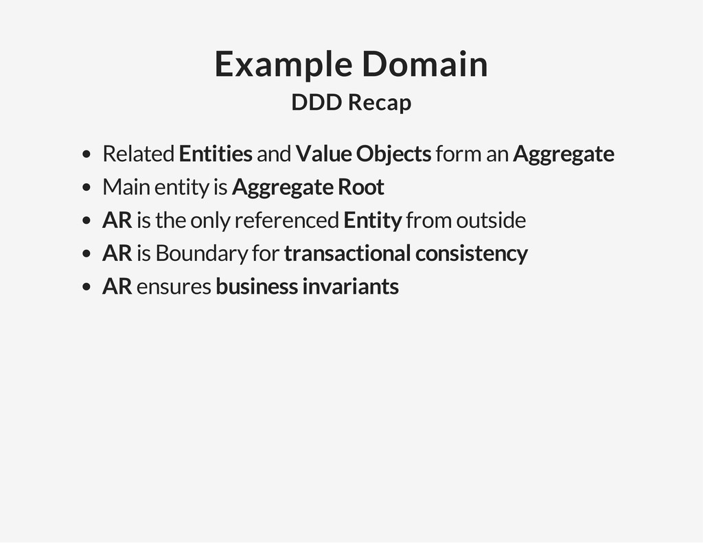 Example Domain DDD Recap Related Entities and V...