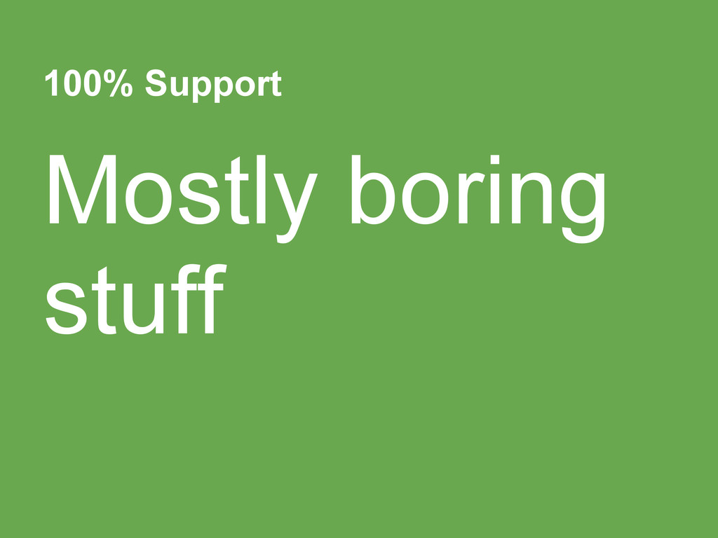 100% Support Mostly boring stuff