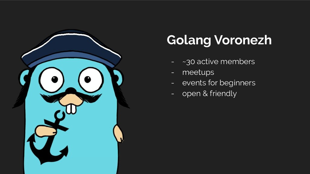 Golang Voronezh - ~30 active members - meetups ...