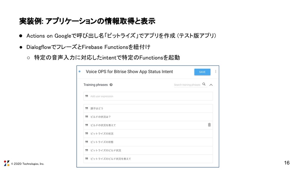 © ZOZO Technologies, Inc. 実装例: アプリケーションの情報取得と表示...