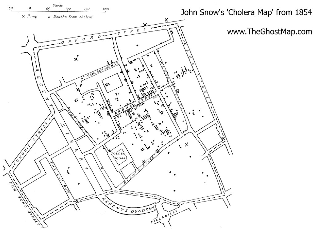 John Snow's 'Cholera Map' from 1854 www.TheGhos...