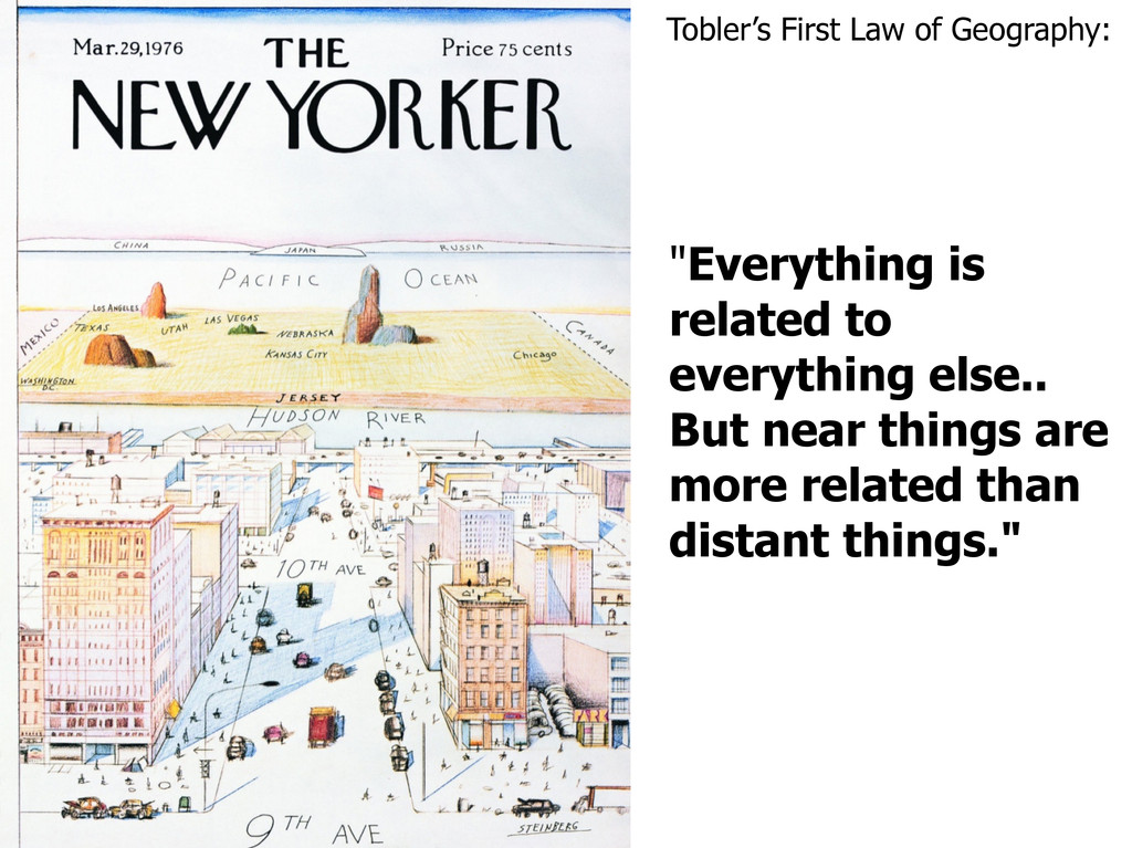 """Tobler's First Law of Geography: """"Everything is..."""