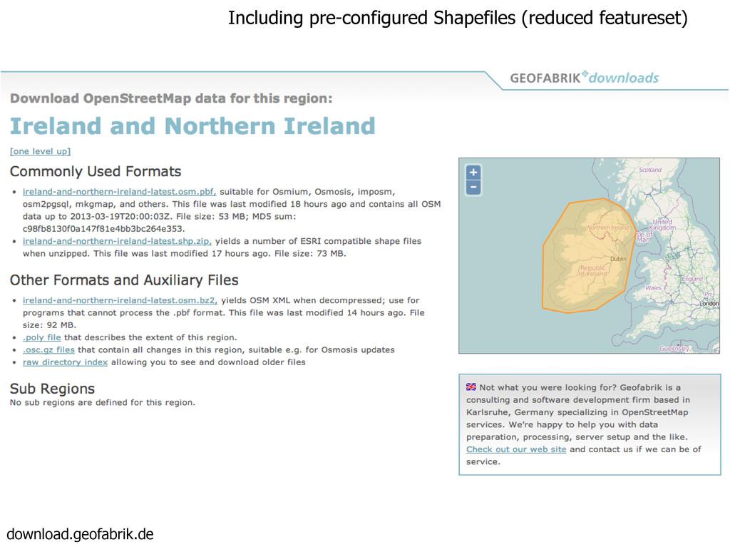 download.geofabrik.de Including pre-configured ...