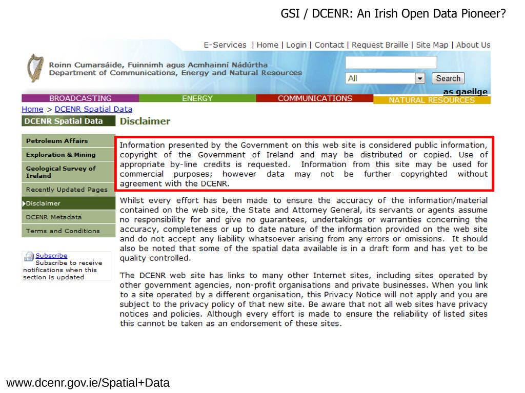 www.dcenr.gov.ie/Spatial+Data GSI / DCENR: An I...