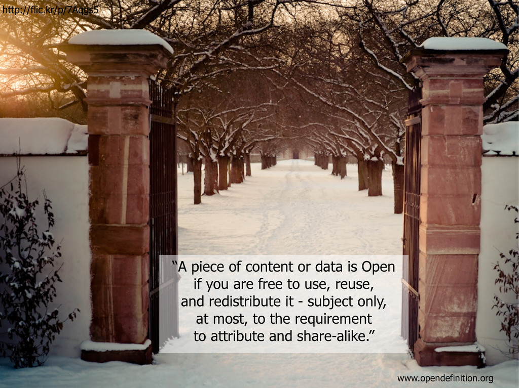 """""""A piece of content or data is Open if you are ..."""