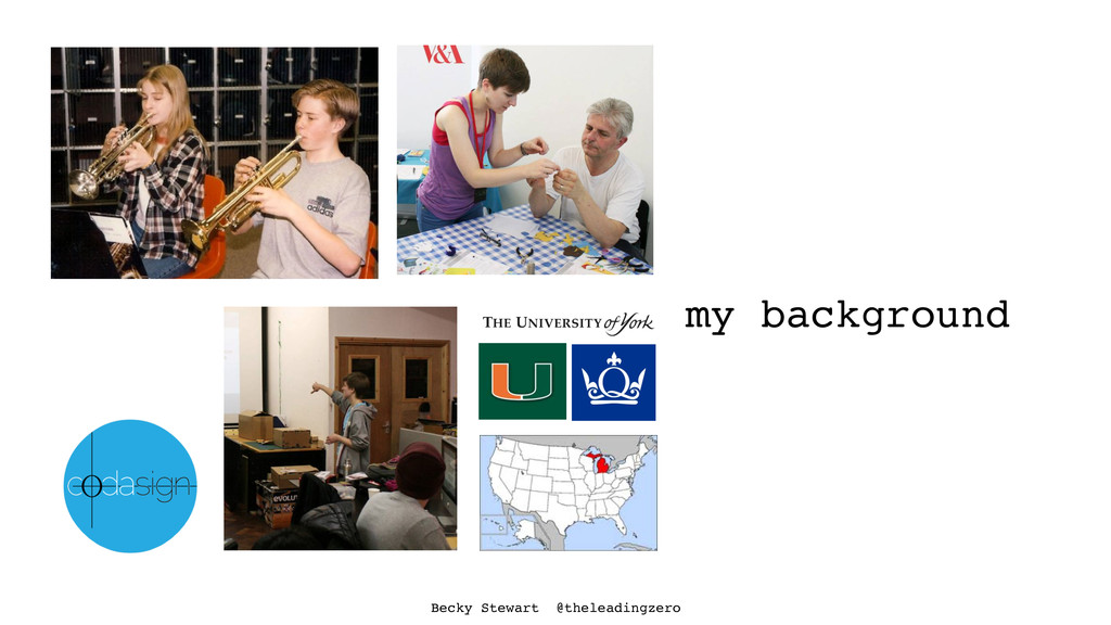 my background Becky Stewart @theleadingzero