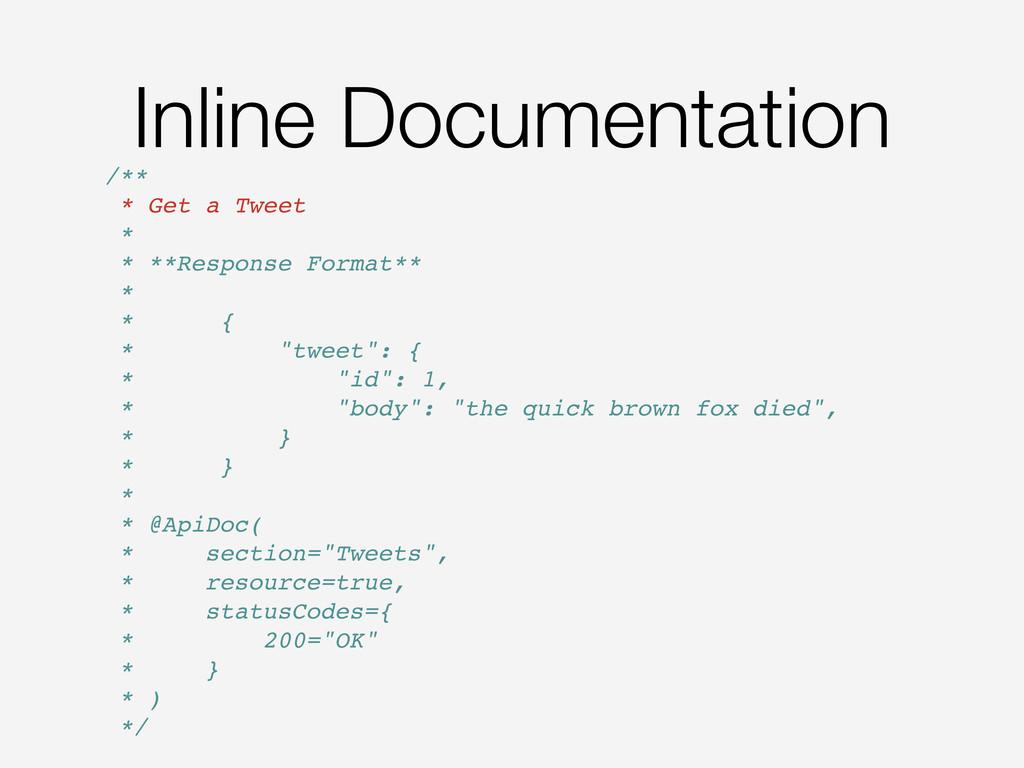 Inline Documentation /** * Get a Tweet * * **Re...