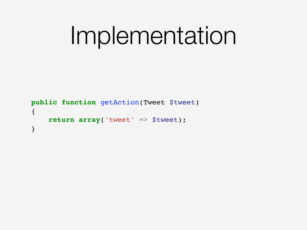 Implementation public function getAction(Tweet ...