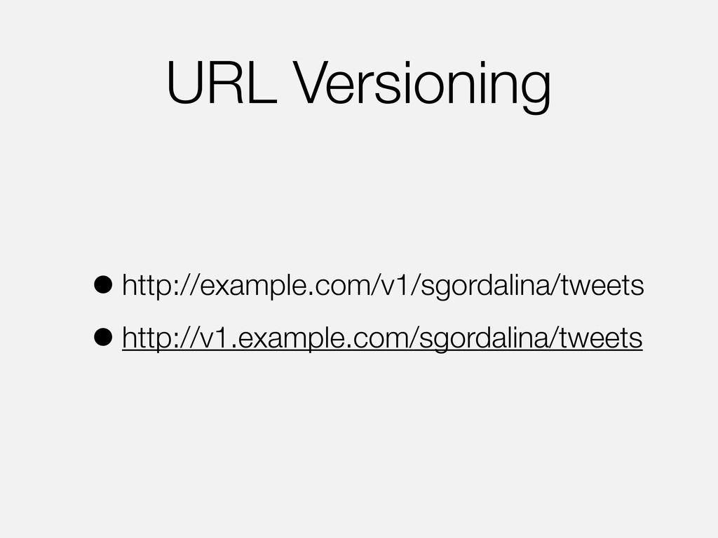 URL Versioning •http://example.com/v1/sgordalin...