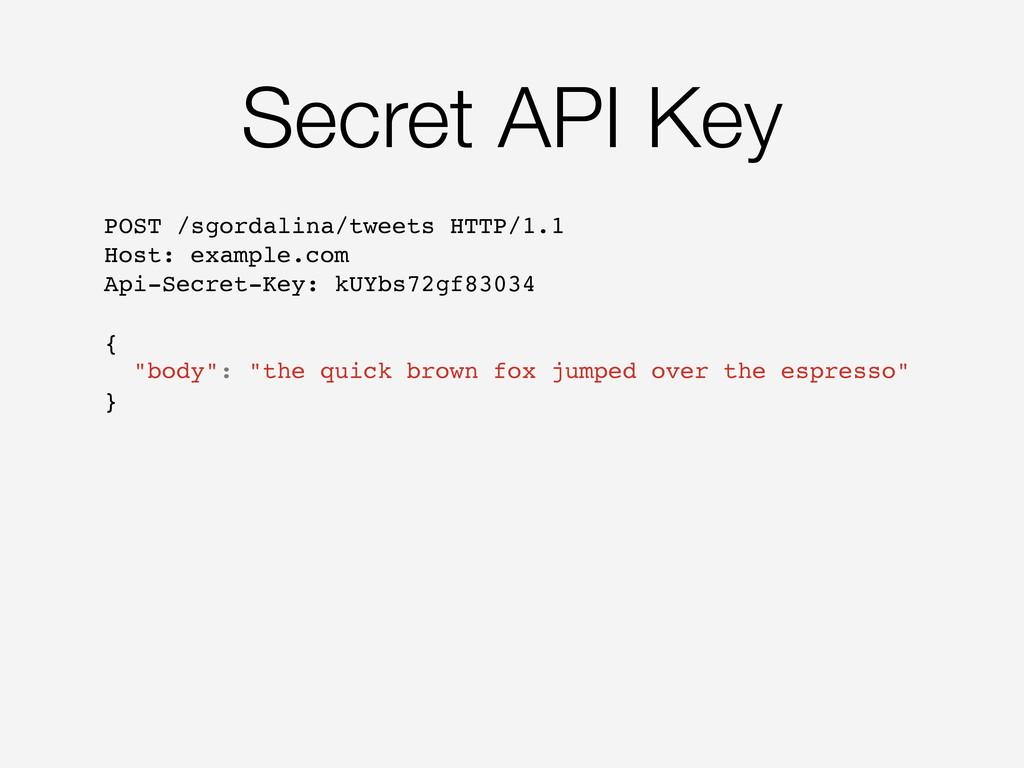 Secret API Key POST /sgordalina/tweets HTTP/1.1...