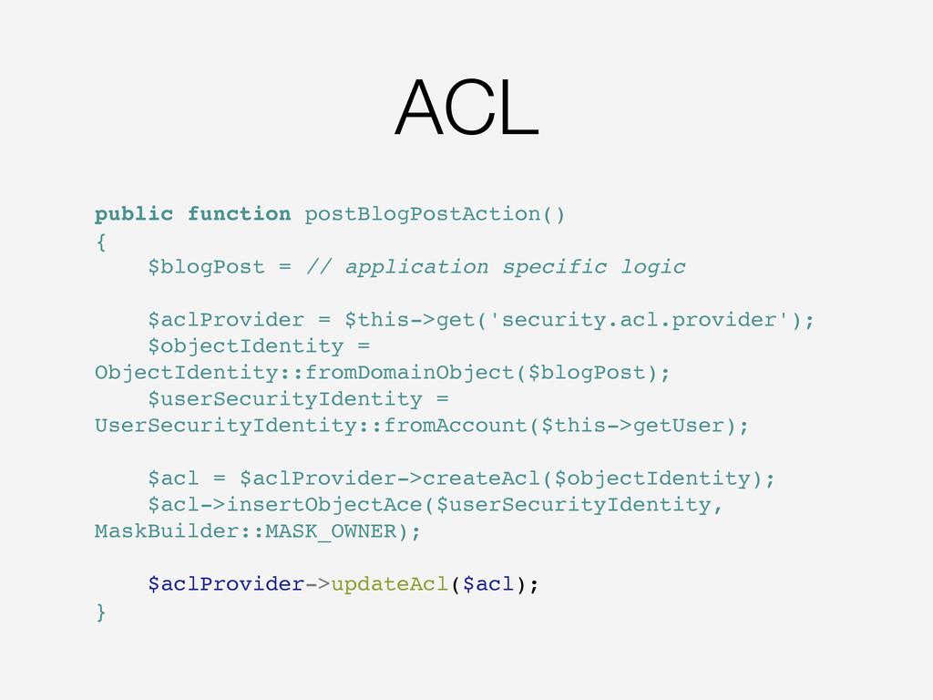 ACL public function postBlogPostAction() { $blo...