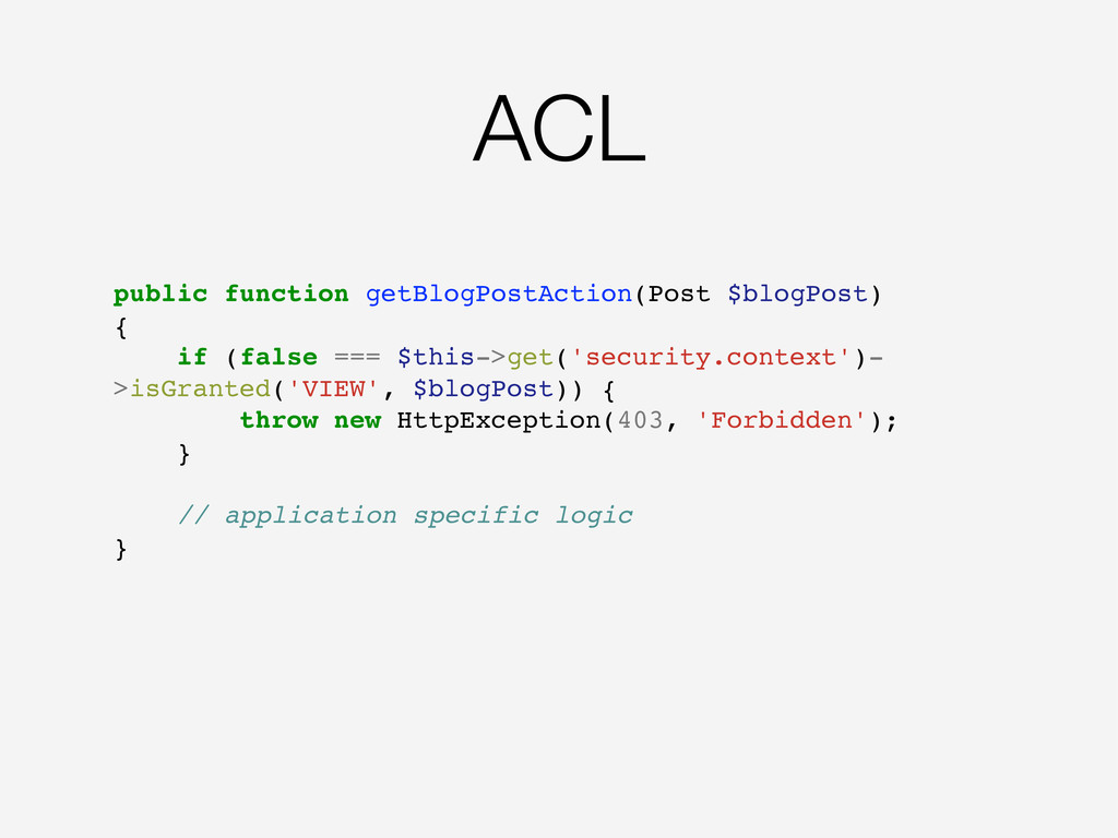 ACL public function getBlogPostAction(Post $blo...