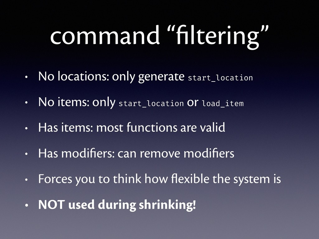"command ""filtering"" • No locations: only generat..."
