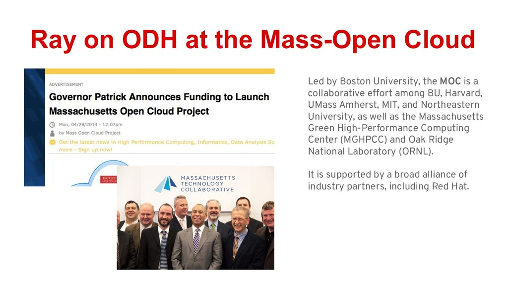 Ray on ODH at the Mass-Open Cloud Led by Boston...