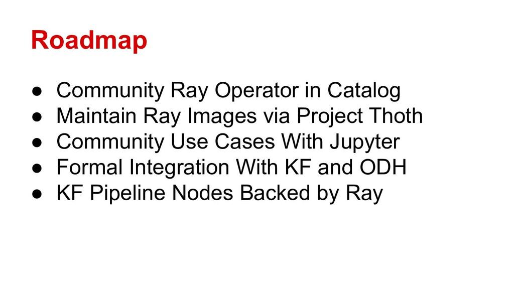 Roadmap ● Community Ray Operator in Catalog ● M...