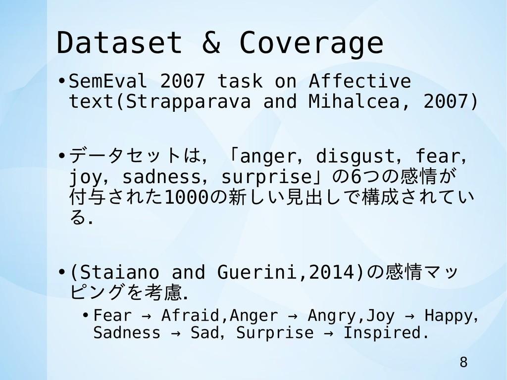 Dataset & Coverage •SemEval 2007 task on Affect...