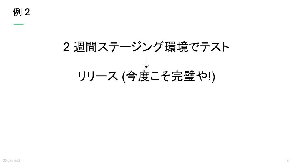 11 例 2 週間ステージング環境でテスト ↓ リリース (今度こそ完璧や!)