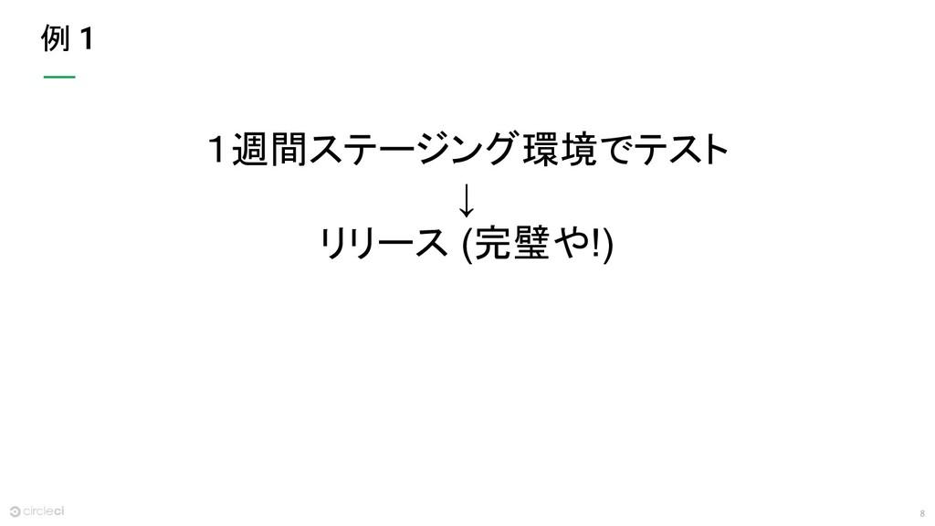 8 例 1週間ステージング環境でテスト ↓ リリース (完璧や!)