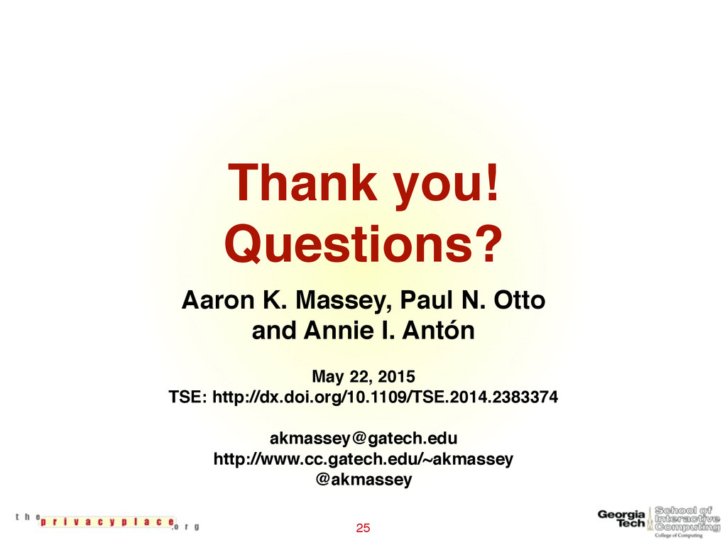Thank you! Questions? 25 Aaron K. Massey, Paul...