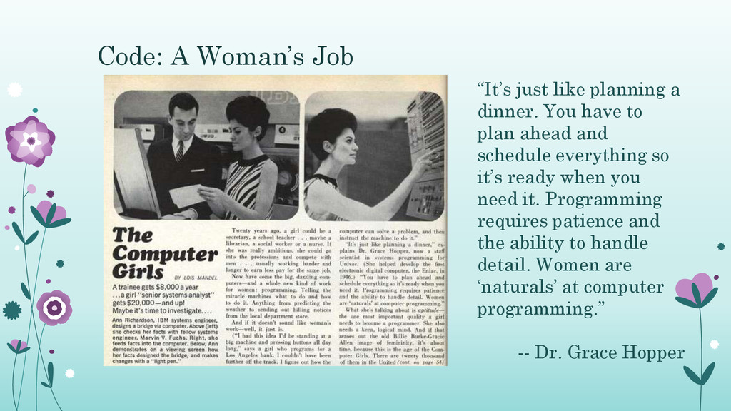 """Code: A Woman's Job """"It's just like planning a ..."""