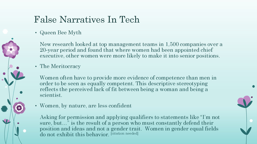 False Narratives In Tech • Queen Bee Myth New r...