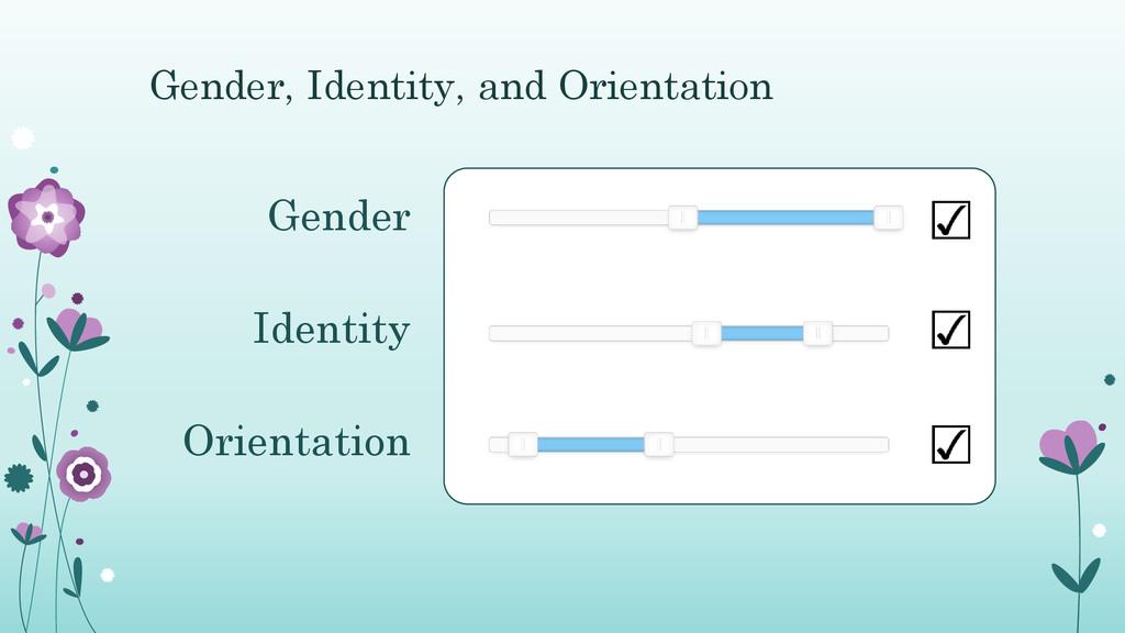 Gender, Identity, and Orientation Gender Identi...