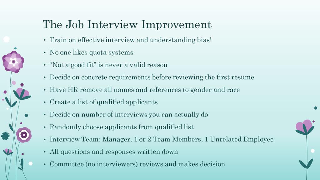 The Job Interview Improvement • Train on effect...