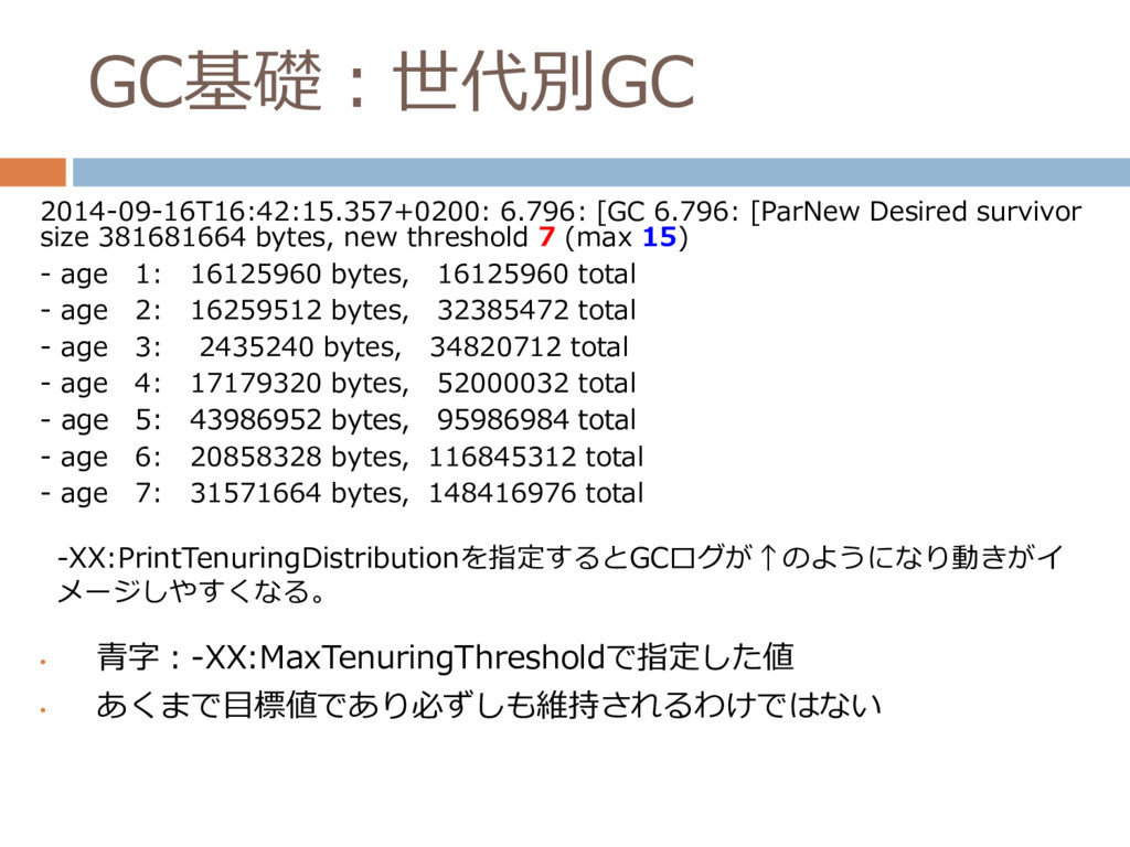 GC基礎:世代別GC • 青字:-XX:MaxTenuringThresholdで指定した値 ...