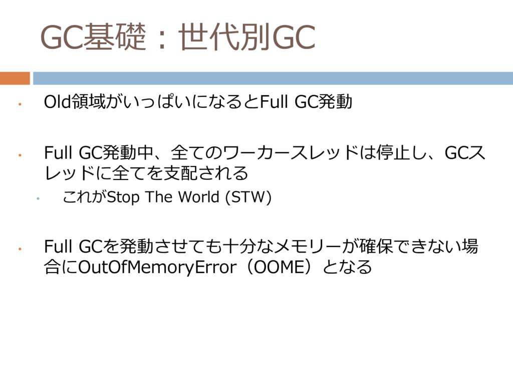 GC基礎:世代別GC • Old領域がいっぱいになるとFull GC発動 • Full GC発...
