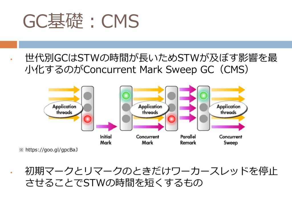 GC基礎:CMS • 世代別GCはSTWの時間が長いためSTWが及ぼす影響を最 小化するのがC...