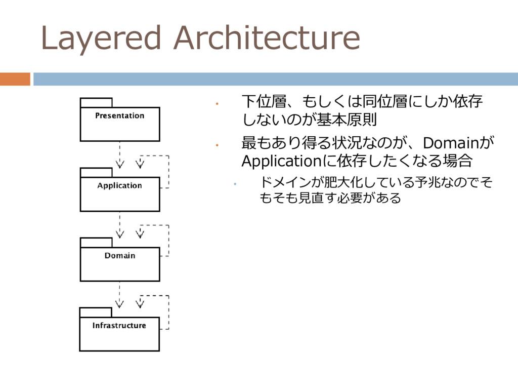 Layered Architecture • 下位層、もしくは同位層にしか依存 しないのが基本...