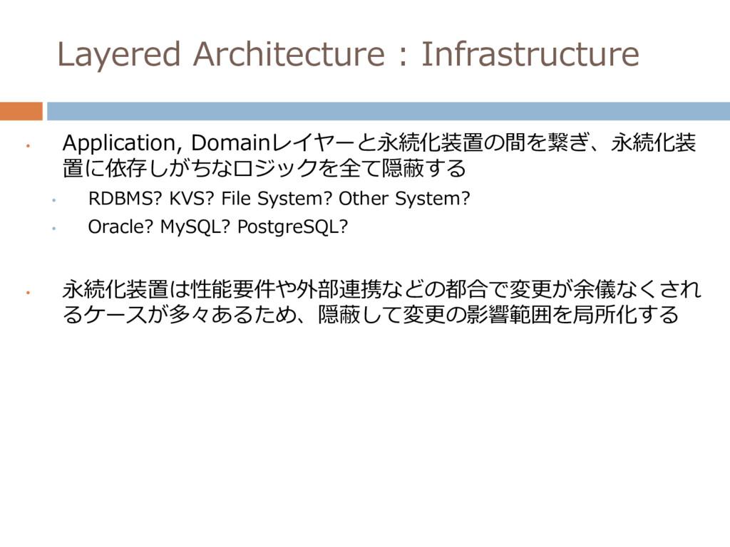 • Application, Domainレイヤーと永続化装置の間を繋ぎ、永続化装 置に依存し...