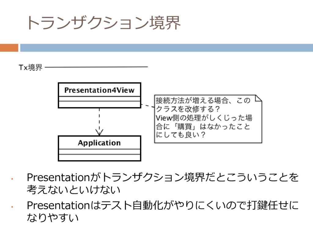 トランザクション境界 • Presentationがトランザクション境界だとこういうことを 考...